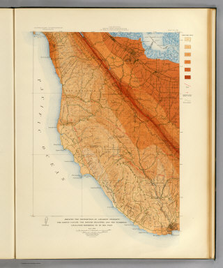 California, Santa Cruz quadrangle of the U.S. Geological Survey showing the distribution of apparent intensity, the known faults, the routes examined and the numbered localities referred to in the text. Earthquake Investigation Commission. A. Hoen & Co., Baltimore. (Carnegie Institution of Washington. 1908)