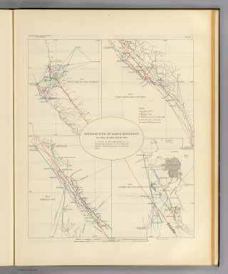 Distribution of earth movement on April 18, 1906 and in 1868 as revealed by the displacement of the triangulation stations of the Coast and Geodetic Surveyed, determined by resurvey, 1906-07. Earthquake Investigation Commission. A. Hoen & Co., Baltimore. (Carnegie Institution of Washington. 1908)