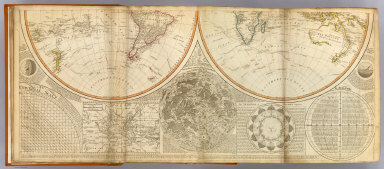 (A general map of the World or terraqueous globe with all the new discoveries and marginal delineations, containing the most interesting particulars of the solar, starry and mundane system, by Saml. Dunn, mathematician. South half. London, Published by Laurie & Whittle, No. 53, Fleet Street, 12th May, 1799)