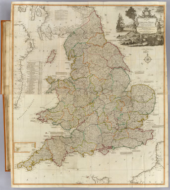 (Composite of) A new map of England & Wales. Drawn from several surveys &c. on the new projection : corrected from astronomical observations & the places marked where the observatns. were made. By Thos. Kitchin, Geogr. The canals inserted to 1792 by J. Phillips, Surveyor. London, Published by Laurie & Whittle, No. 53, Fleet Street, as the act directs, 12th May, 1794.