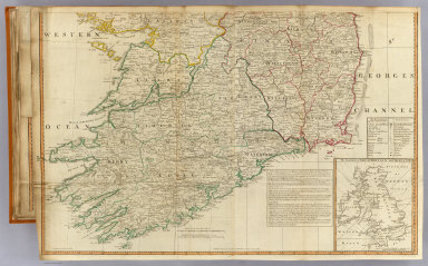 (A map of the Kingdom of Ireland divided into provinces, counties and baronies. South half. (with) The seacoasts of Great Britain and Ireland. Showing the archbishopricks, bishopricks, cities, boroughs, market towns, villages, barracks, mountains, lakes, bogs, rivers, bridges, ferries, passes, also the Great, the Branch & the By post roads, together with the inland navigation &c. by J. Rocque, Chorographer to His Majesty). Published 12th May 1794 by Laurie & Whittle, 53 Fleet Street, London.
