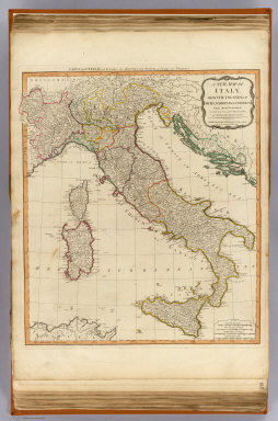 A new map of Italy, with the islands of Sicily, Sardinia & Corsica. From Monsr. D'Anville: to which have been added the post roads and several other improvements. London, Published by Laurie & Whittle, No. 53 Fleet Street, as the act directs 12th May, 1794. (Title in upper margin:) Carte de l'Italie, et de toutes ses routes de poste, a l'usage des voyageurs.