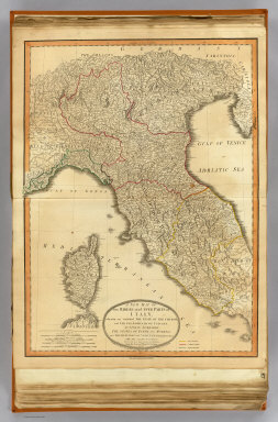A new map of the middle and upper parts of Italy, wherein are included the State of the Church, the Grand Duchy of Tuscany, Austrian Lombardy, the states of Parma and Modena, and the republics of Venice, Genoa, Lucca &ca. with the island of Corsica. Drawn with many improvements and additions, from the general map of D'Anville &c. &c. Published 25th March 1799 by Robt. Laurie & Jas. Whittle, No. 53 Fleet Street, London. Jones & Smith sculp., 13 Pleasant Row, Pentonville.