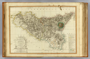 The island and Kingdom of Sicily, according to the best observations, & improved, from the map of the Baron de Schmettau, Quarter Master General to the Imperial Army ..., from the map of Messrs. Don Co. Ventimiglio, and Ao. D'Aedone, and from Mr. Danville, and others. By Robert Mylne, F.R.S., on a journey in MDCCLVII. Published 12th May, 1799 by Laurie & Whittle, 53, Fleet Street, London.