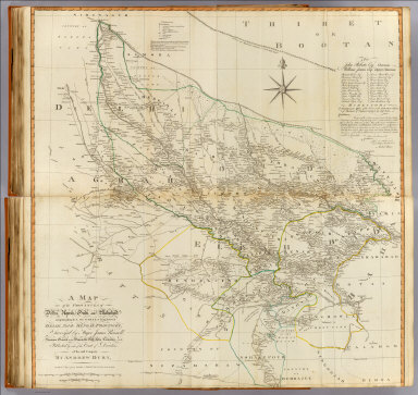 (Composite of) A map of the provinces of Delhi, Agrah, Oude, and Ellahabad, comprehending the countries lying between Delhi, and the Bengal Provinces. Surveyed by Major James Rennell, Surveyor General to the Honourable East-India Company, and published by order of the court of directors of said company. By Andrew Dury, published 12th May, 1794 by Laurie & Whittle, 53, Fleet Street, London. Wm. Haydon sculpt.