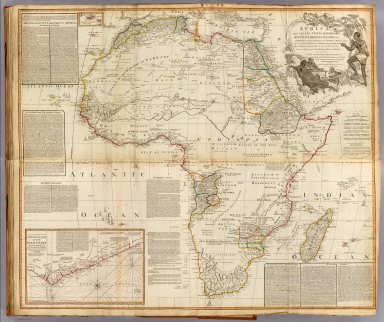 (Composite of) Africa, with all its states, kingdoms, republics, regions, islands, &ca. (with) A particular chart of the Gold Coast ... Improved and inlarged from d'Anville's map, to which have been added the discoveries of Parke, Vaillant, Brown &c. Also a particular chart of the Gold Coast, wherein are distinguished all the European forts and factories, by S. Boulton: and also a summary description relative to the trade and natural produce, manners and customs of the African continent and islands. London, Published by Laurie & Whittle, No. 53, Fleet-Street, as the act directs 12th May, 1800)