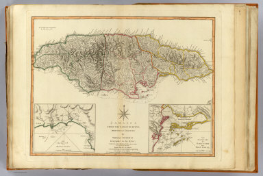 Jamaica from the latest surveys, improved and engraved by Thomas Jefferys, Geographer to the King. (with) The harbour of Bluefields. (with) The harbours of Kingston and Port Royal. Published by Laurie & Whittle, No. 53, Fleet Street, as the act directs 12th May, 1794.
