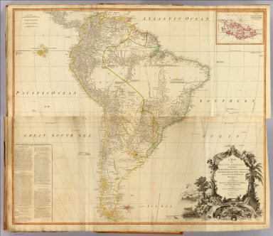 (Composite of) A map of South America containing Tierra-Firma, Guayana, New Granada, Amazonia, Brasil, Peru, Paraguay, Chaco, Tucuman, Chili and Patagonia, from Mr. d'Anville with several improvements and additions, and the newest discoveries. (with) A chart of Falkland's Islands named by the French Malouine Islands and discovered by Hawkins, in the year 1593. London, Published by Laurie & Whittle, No. 53 Fleet Street, as the act directs 12th May, 1794.