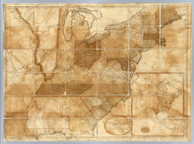 Map of the United States, exhibiting the post-roads, the situations, connexions & distances of the post-offices, stage roads, counties, & principal rivers. By Abraham Bradley Junr. (with) Map of North America. Entered according to Act of Congress the 2nd day of June 1804 by Abraham Bradley Junr. of the District of Columbia. (1809)