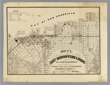Map no. 3. Salt marsh and tide lands situate in the city and county of San Francisco. To be sold at public auction by order of the Board of Tide Land Commissioners by Talbert & Leet, auctioneers, at their sales rooms no. 526 California Street, San Francisco. Sale to commence Friday Nov. 26th, 1869. B.F. Washington, H.P. Coon, L.L Bullock, Wm. S. Byrne, Secretary, Tide Land Commissioners. G.F. Allardt, Surveyor & Chief Engineer. C.H. Baker Lith., S.F.