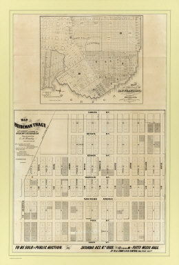 Map of the Beideman Tract lots & blocks according to official map of the Western Addition. Drawn from actual survey by M. Hoadley. ... Lith. Britton & Co. To be sold at public auction, on Saturday, Oct. 6th, 1860 at 12 o'clock M. at Platts Music Hall. By H.A. Cobb and R.H. Sinton, real estate auctrs. (with) Map of the city of San Francisco. Published by Britton & Co., Lithographers, Montgomery St. cor. of Comml. sts., San Francisco.