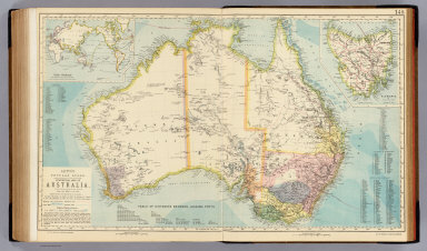 Statistical map of Australia. (with) The World on Mercator's projection with distances from Australian ports. (with) Tasmania. Letts's popular atlas. Letts, Son & Co. Limited, London. (1883)