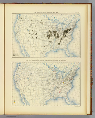 366. Production of coal per square mile: 1890. 367. Localities producing iron ore in 1889 and the varieties of ore produced. Julius Bien & Co. Lith., N.Y. (1898)