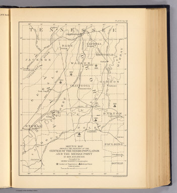 Sketch map showing the position of the center of the Negro population and the median point in 1880, 1890 and 1900. Compiled by Henry Gannett, Geographer. (United States Census Office, 1903). Julius Bien & Co., N.Y.