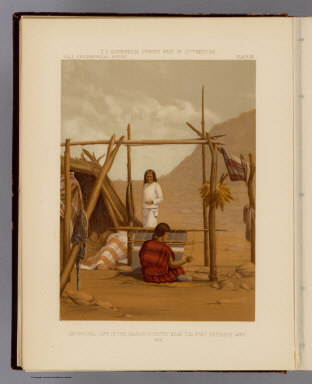 Aboriginal life in the Navajo Country near Old Fort Defiance, Ariz. (From a photograph by T.H. O'Sullivan). 1873. U.S. Geographical Surveys West of the 100th Meridian. (1889)