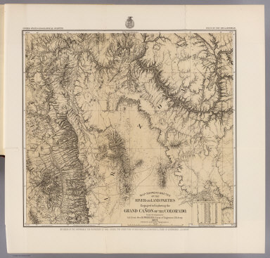 Map showing routes of the river and land parties engaged in exploring the Grand Canon of the Colorado. Under the command of 1st. Lieut. Geo. M. Wheeler, Corps of Engineers, U.S. Army. 1871. P.W. Hamel and L. Nell, topographers. Issued Feb. 4th 1878. The Graphic Co. Photo-Lith., 30 & 41 Park Place, N.Y. Weyss, Thompson & Lang del. By order of the Honorable the Secretary of War. Under the direction of Brig. Gen. A.A. Humphreys, Chief of Engineers, U.S. Army. (in upper margin:) United States Geographical Surveys West of the 100th Meridian. (1889)
