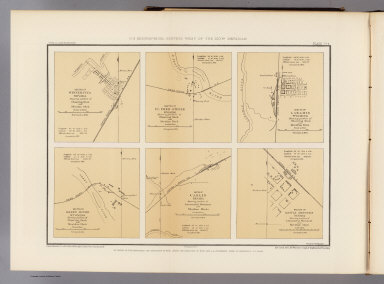 Sketch of Winnemucca, Nevada showing position of observing block and meridian mark. Sketch of Ft. Fred Steele, Wyoming showing position of observing block and meridian mark. Sketch of Laramie, Wyoming showing position of observing block and meridian mark. Sketch of Green River, Wyoming showing position of observing block and meridian mark. Sketch of Carlin, Nevada showing position of astronomical monument and meridian marks. Sketch of Battle Mountain, Nevada showing position of astronomical monument and meridian mark. Surveyed in 1873. Expeditions of 1871, 1872, 1873 & 1874, under the command of 1st Lieut. Geo. M. Wheeler, Corps of Engineers, U.S. Army. U.S. Geographical Surveys West of the 100th Meridian. George D. Clarke, del. The Graphic Co., N.Y. By order of the honorable the Secretary of War, under the direction of Brig. Gen. A.A. Humphreys, Chief of Engineers, U.S. Army. (1877)
