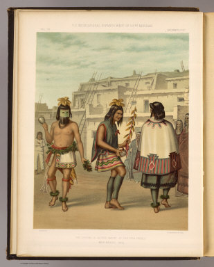 The cachina, a sacred dance, at the Zuni Pueblo, New Mexico 1873. H.J. Morgan del. T. Sinclair & Son, lith., Phila. U.S. Geographical Surveys West of the 100th Meridian. (1879)