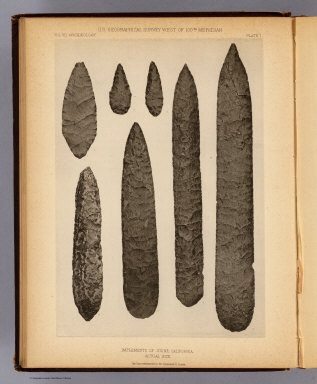 Implements of stone, California. The Heliotype Printing Co., 220 Devonshire St., Boston. U.S. Geographical Surveys West of the 100th Meridian. (1879)