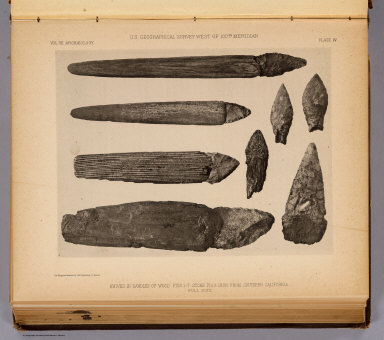 Knives in handles of wood. Figs. 1-7. Stone. Fig. 8. Iron. From Southern California. The Heliotype Printing Co., 220 Devonshire St., Boston. U.S. Geographical Surveys West of the 100th Meridian. (1879)