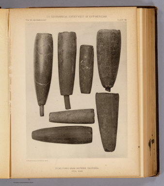 Stone pipes from Southern California. The Heliotype Printing Co., 220 Devonshire St., Boston. U.S. Geographical Surveys West of the 100th Meridian. (1879)