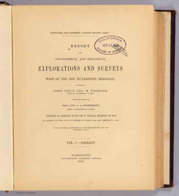 (Title Page to) Report upon United States Geographical Surveys West of the One Hundredth Meridian, in charge of Capt. Geo. M. Wheeler, Corps of Engineers, U.S. Army ... In seven volumes and one supplement, accompanied by one topographic and one geologic atlas. Vol. V--Zoology. Washington: Government Printing Office, 1875.