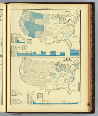 Silver. Mining regions ... Copper. Mining regions ... Product per capita by states. Based on the returns of the tenth census. 1880. Copyright, 1883, by Charles Scribner's Sons.