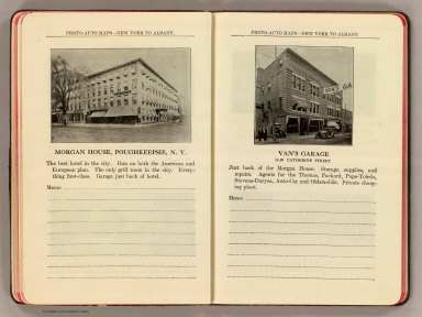 Photo-auto maps--New York to Albany. Morgan House, Poughkeepsie, N.Y. Van's Garage, 14-20 Catherine Street (Poughkeepsie, N.Y. Compiled by Gardner S. Chapin and Arthur H. Schumacher. Copyright, 1907, by G.S. Chapin, Chicago. Published by the Motor Car Supply Co. ... The Automobile Supply Co. ... Chicago, Ill.)