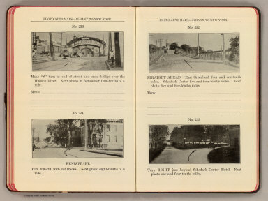 Photo-auto maps--Albany to New York. No. 230. (Albany). No. 231. Rensselaer. No. 232. (Rensselaer). No. 233. (East Greenbush. Compiled by Gardner S. Chapin and Arthur H. Schumacher. Copyright, 1907, by G.S. Chapin, Chicago. Published by the Motor Car Supply Co. ... The Automobile Supply Co. ... Chicago, Ill.)