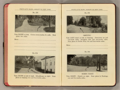 Photo-auto maps--Albany to New York. No. 273 ... No. 274. (Croton). No. 275. Ossining. No. 276. Dobbs Ferry. (Compiled by Gardner S. Chapin and Arthur H. Schumacher. Copyright, 1907, by G.S. Chapin, Chicago. Published by the Motor Car Supply Co. ... The Automobile Supply Co. ... Chicago, Ill.)