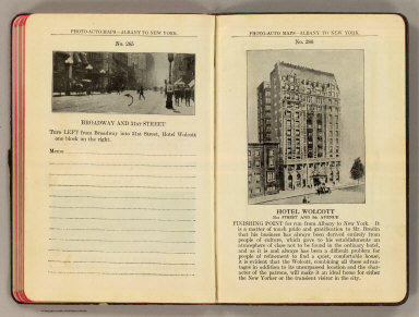Photo-auto maps--Albany to New York. No. 285. Broadway and 31st Street. No. 286. Hotel Wolcott, 31st Street and 5th Avenue. (Compiled by Gardner S. Chapin and Arthur H. Schumacher. Copyright, 1907, by G.S. Chapin, Chicago. Published by the Motor Car Supply Co. ... The Automobile Supply Co. ... Chicago, Ill.)