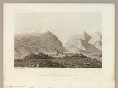 Weber Lower Canyon. April 5th at 2 P.M. from an island in Weber River, Valley of Great Salt Lake. C. Schumann from F.W. Egloffstein. Selmar Siebert's Engraving & Printing Establishment, Washington, D.C. U.S.P.R.R. Exp. & Surveys 41st Parallel. Expl. by Lieut. Beckwith. Vol. II.