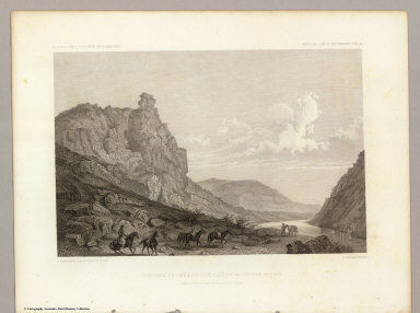 Second or Sheeprock Canyon of Weber River. April 6th at 1 P.M. View Looking East. C. Schumann from F.W. Egloffstein. R. Hinshelwood. U.S.P.R.R. Exp. & Surveys 41st Parallel. Expl. by Lieut. Beckwith. Vol. II.