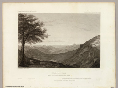 Humboldt Pass. May 22nd at 12 A.M. from high peak east of pass. C. Schumann from F.W. Egloffstein. Selmar Siebert's Engraving & Printing Establishment, Washington, D.C. U.S.P.R.R. Exp. & Surveys 41st Parallel. Expl. by Lieut. Beckwith. Vol. II.