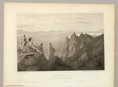 Franklin Valley. May 24th at 10 A.M. from a spur of the Humboldt Mountains. C. Schumann from F.W. Egloffstein. Selmar Siebert's Engraving & Printing Establishment, Washington, D.C. U.S.P.R.R. Exp. & Surveys 41st Parallel. Expl. by Lieut. Beckwith. Vol. II.