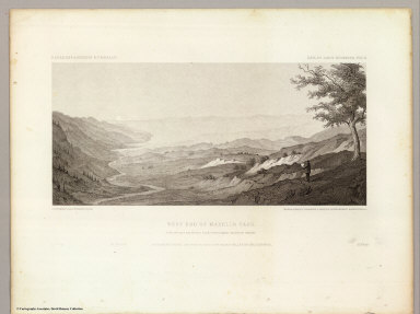 West End of Madelin Pass. June 26th at 8 A.M. from a peak overlooking Madelin Creek. C. Schumann from F.W. Egloffstein. Selmar Siebert's Engraving & Printing Establishment, Washington, D.C. U.S.P.R.R. Exp. & Surveys 41st Parallel. Expl. by Lieut. Beckwith. Vol. II.