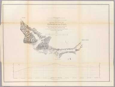 Map and Profile of the Canada de las Uvas, from Explorations and Surveys made under the direction of the Hon. Jefferson Davis, Secretary of War by Lieut. R.S. Williamson Topl. Engr. assisted by Lieut. J.G. Parke Topl. Engr. and Mr. Isaac Williams Smith, Civ. Engr. 1853. Explorations and Surveys for a Rail Road Route from the Mississippi River to the Pacific Ocean. War Department. Routes in California to connect with the routes near the 32nd and 35th parallels. Engr. by Selmar Siebert.