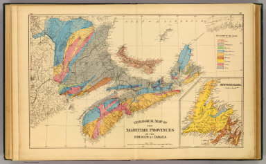 Geological map of the Maritime Provinces of the Dominion of Canada. (with) Newfoundland. (Drawn on the Rectangular polyconic projection. Drawn and published by Roe Brothers, (A.D. & W.B. Roe). Eng. by Worley & Bracher, Philada. Printed by F. Bourquin, Philada. 1878)