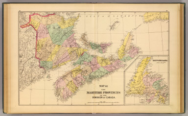 Map of the Maritime Provinces of the Dominion of Canada. (with) Newfoundland. (Drawn on the Rectangular polyconic projection. Drawn and published by Roe Brothers, (A.D. & W.B. Roe). Eng. by Worley & Bracher, Philada. Printed by F. Bourquin, Philada. 1878)