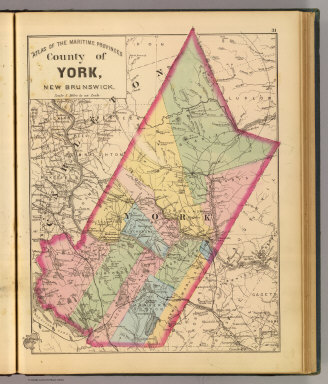 County of York, New Brunswick. (Drawn on the Rectangular polyconic projection. Drawn and published by Roe Brothers, (A.D. & W.B. Roe). Eng. by Worley & Bracher, Philada. Printed by F. Bourquin, Philada. 1878)