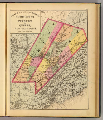 Counties of Sunbury and Queens, New Brunswick. (Drawn on the Rectangular polyconic projection. Drawn and published by Roe Brothers, (A.D. & W.B. Roe). Eng. by Worley & Bracher, Philada. Printed by F. Bourquin, Philada. 1878)