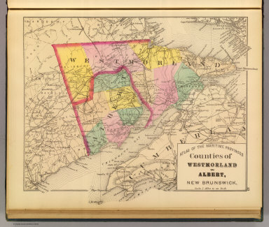 Counties of Westmorland and Albert, New Brunswick. (Drawn on the Rectangular polyconic projection. Drawn and published by Roe Brothers, (A.D. & W.B. Roe). Eng. by Worley & Bracher, Philada. Printed by F. Bourquin, Philada. 1878)