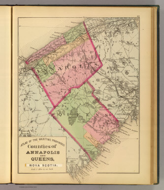 Counties of Annapolis and Queens, Nova Scotia. (Drawn on the Rectangular polyconic projection. Drawn and published by Roe Brothers, (A.D. & W.B. Roe). Eng. by Worley & Bracher, Philada. Printed by F. Bourquin, Philada. 1878)
