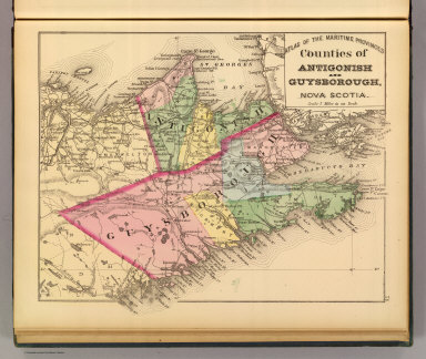 Counties of Antigonish and Guysborough, Nova Scotia. (Drawn on the Rectangular polyconic projection. Drawn and published by Roe Brothers, (A.D. & W.B. Roe). Eng. by Worley & Bracher, Philada. Printed by F. Bourquin, Philada. 1878)