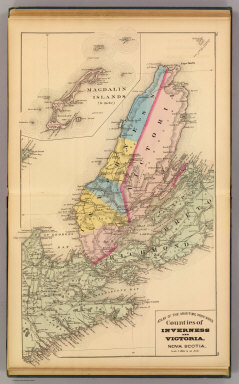 Counties of Inverness and Victoria, Nova Scotia. (with) Magdalin (i.e. Magdalen) Islands. (Drawn on the Rectangular polyconic projection. Drawn and published by Roe Brothers, (A.D. & W.B. Roe). Eng. by Worley & Bracher, Philada. Printed by F. Bourquin, Philada. 1878)