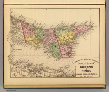 Counties of Queens and Kings, Prince Edward Island. (Drawn on the Rectangular polyconic projection. Drawn and published by Roe Brothers, (A.D. & W.B. Roe). Eng. by Worley & Bracher, Philada. Printed by F. Bourquin, Philada. 1878)