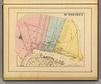 St. Stephen (New Brunswick. Drawn on the Rectangular polyconic projection. Drawn and published by Roe Brothers, (A.D. & W.B. Roe). Eng. by Worley & Bracher, Philada. Printed by F. Bourquin, Philada. 1878)