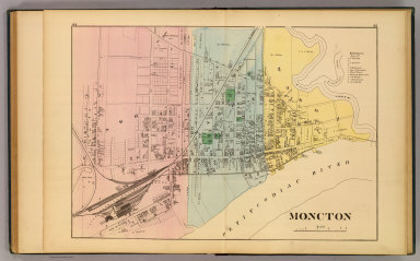 Moncton (New Brunswick. Drawn on the Rectangular polyconic projection. Drawn and published by Roe Brothers, (A.D. & W.B. Roe). Eng. by Worley & Bracher, Philada. Printed by F. Bourquin, Philada. 1878)