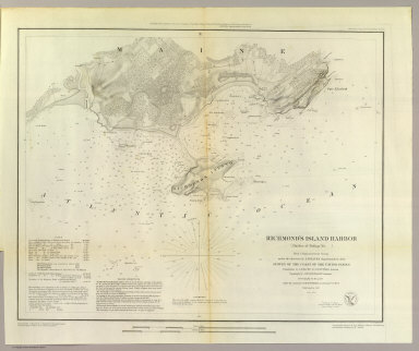 Richmond's Island Harbor (Harbor of Refuge no. ). From a trigonometrical survey under the direction of A.D. Bache, Superintendent of the Survey of the Coast of the United States. Triangulation by A.D. Bache & C.O. Boutelle, assistant. Topography by A.W. Longfellow, assistant. Hydrography by the party under the command of M. Woodhull, Lieutenant U.S. Navy. Published in 1851. Topography reduced by J. Lambert, draughtsman. Hydrography reduced by John R. Barker. Topography engraved by S. Siebert. Title by J.V.N. Throop, remaining lettering by W. Smith. Electrotype copy no. 2 by G. Mathiot, U.S.C.S. (with logo) U.S. Coast Survey Office.