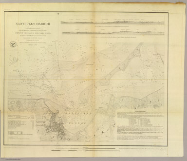 Nantucket Harbor. From a trigonometrical survey under the direction of A.D. Bache, Superintendent of the Survey of the Coast of the United States. Triangulation by A.D. Bache and C.M. Eakin assistant. Topography by H.L. Whiting assistant. Hydrography by the party under the command of C.H. Davis Lieutenant, U.S. Navy. Published in 1848. Reduction by J.M. Wampler, draughtsman. Views by J. Robertson. Engraving of topography by F. Dankworth & O.A. Lawson, assisted by J.H. Young. Views by A.O. Lawson. Lettering by J. Knight & W. Smith. Printed by H. Benner. Electrotype copy no. 1 by G. Mathiot, U.S.C.S. (with logo) U.S. Coast Survey Office.